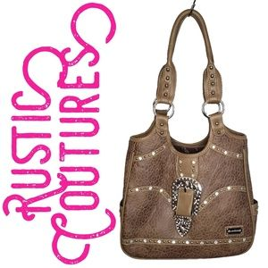 Rustic Coutures - Brown Leather Silver  Rhinestone